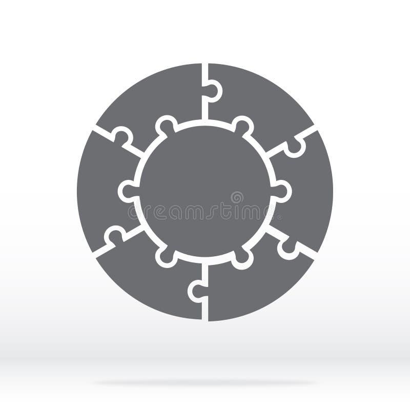 Einfaches Ikonenkreispuzzlespiel im Grau Einfaches Ikonenkreispuzzlespiel der sechs Stücke und der Mitte auf grauem Hintergrund stock abbildung