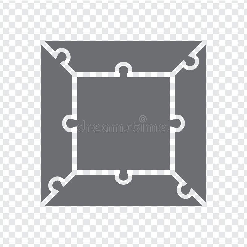 Einfaches Ikonenquadratpuzzlespiel im Grau Einfaches Ikonenquadratpuzzlespiel der vier Stücke und der Mitte auf transparentem Hin stock abbildung