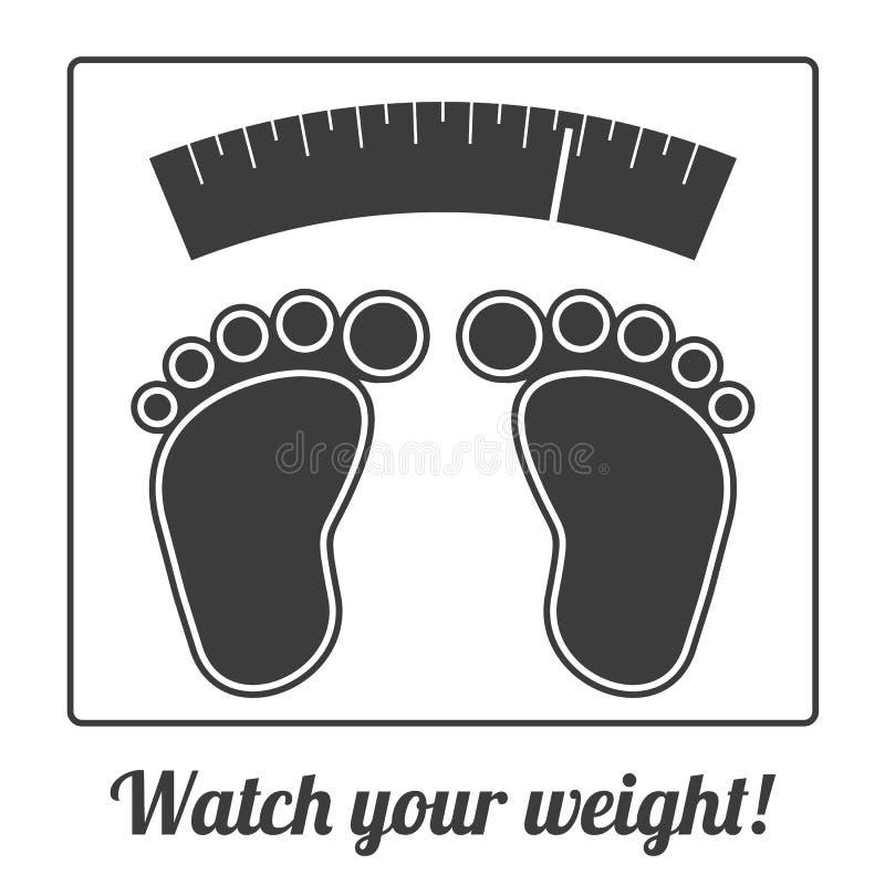 Einfaches ilustration von Füßen auf Waage lizenzfreie abbildung