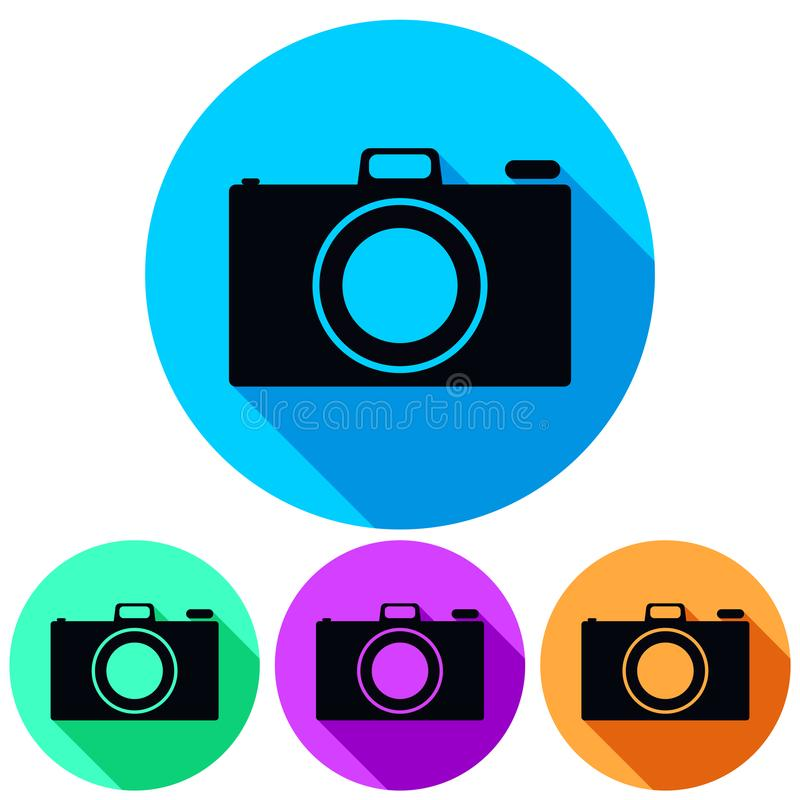 Einfaches, Kreis-, flaches Kameraikonenschattenbild Vier Farbveränderungen Werfen eines Schattens Lokalisiert auf Weiß lizenzfreie abbildung
