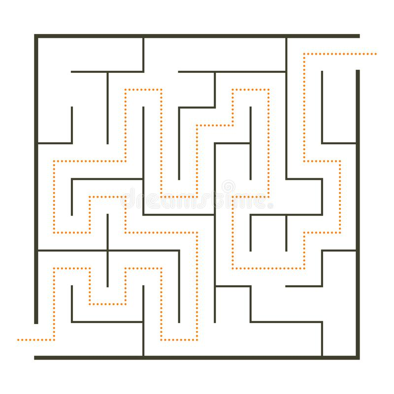 Einfaches Labyrinth mit Weglösung vektor abbildung