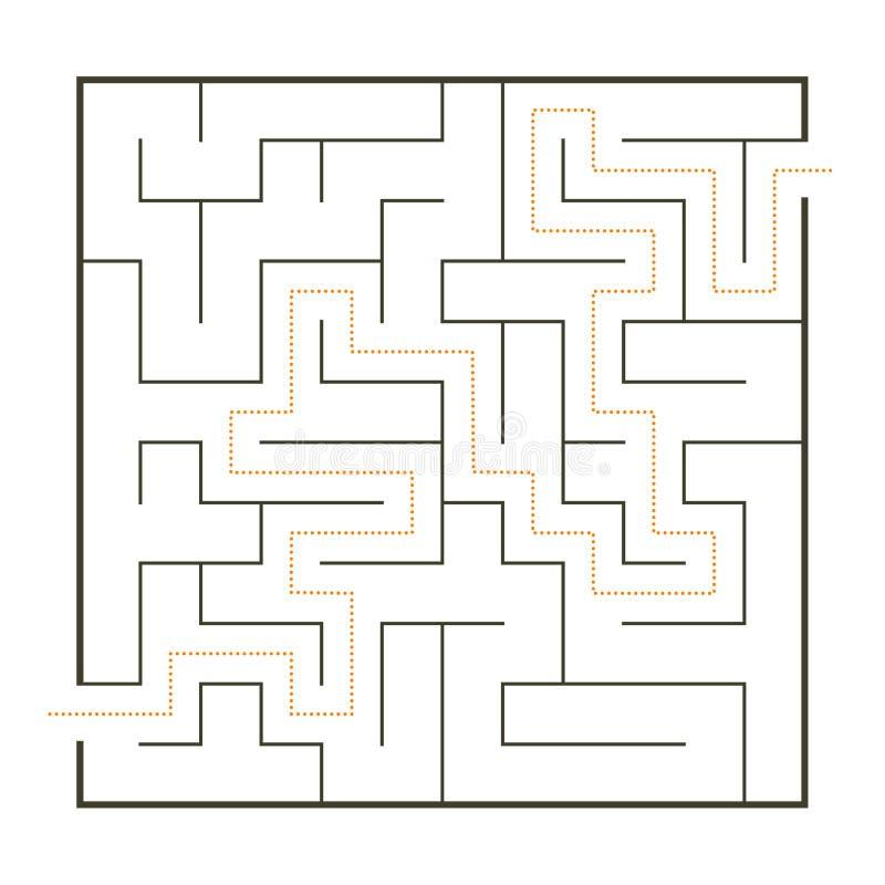 Einfaches Labyrinth mit Weglösung stock abbildung