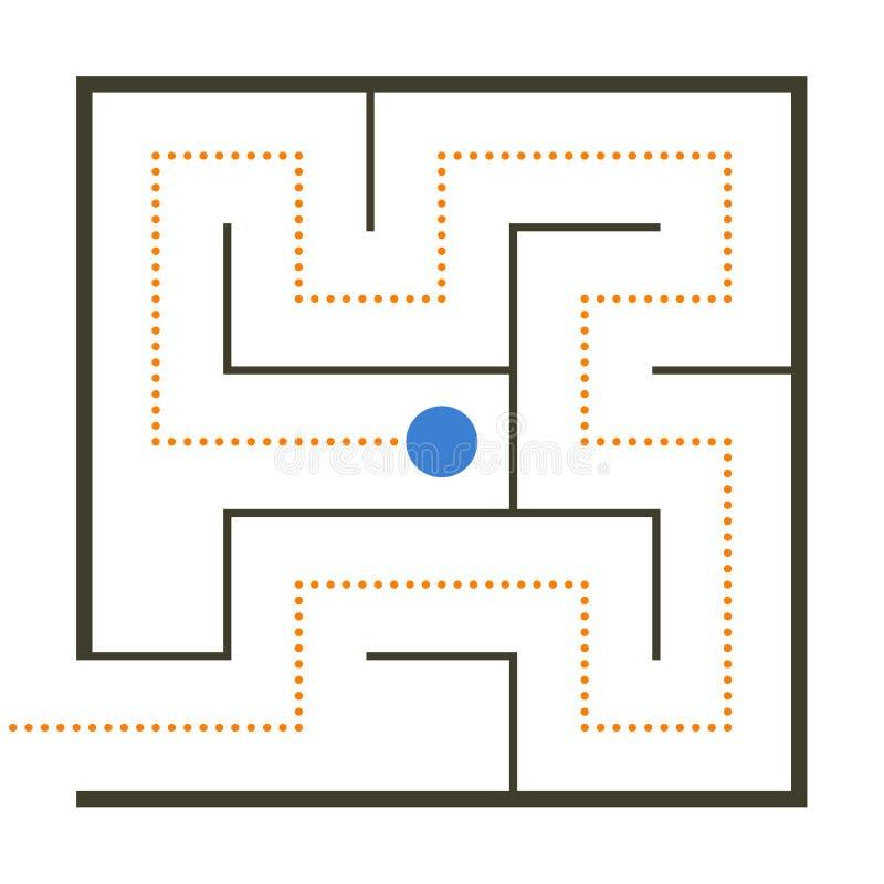 Einfaches Labyrinth mit Weglösung lizenzfreie abbildung
