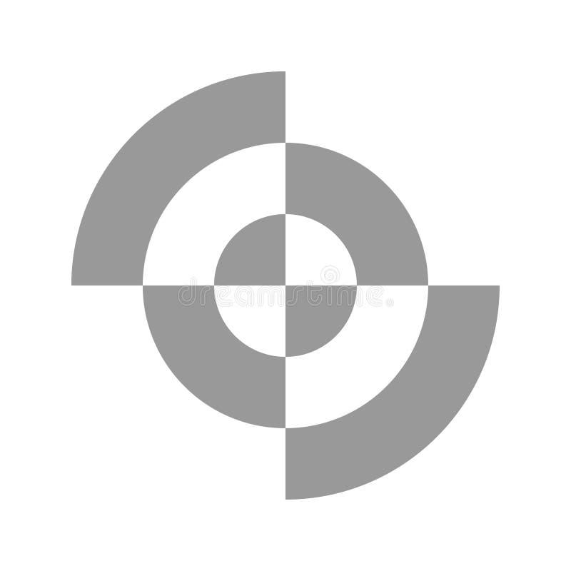 Einfaches Logo mit abstrakten geteilten Kreiszahlen vektor abbildung