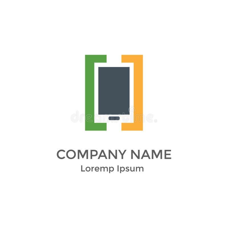 Einfaches modernes flaches Logo für beweglichen Anwendungs-Entwickler stock abbildung