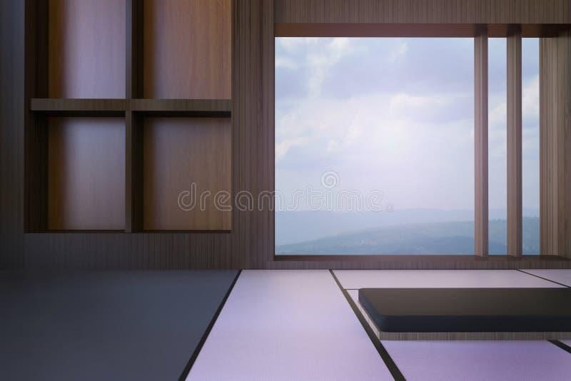 Download Einfaches Modernes Japanisches Wohnzimmer Und Minimaler Fensterrahmen Ansichten Von Bergen Himmel Stock