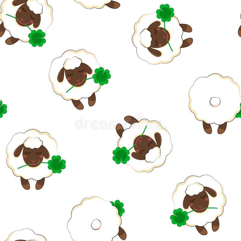 Einfaches Muster mit dem Bild eines Schafs Nahtloser Hintergrund Vektor lizenzfreies stockfoto