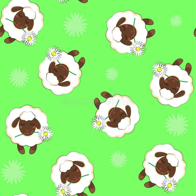 Einfaches Muster mit dem Bild eines Schafs Nahtloser Hintergrund Vektor lokalisierter Hintergrund lizenzfreies stockbild