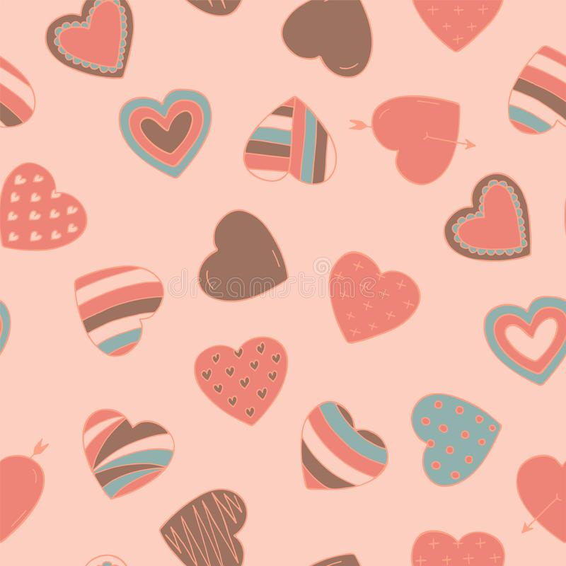 Einfaches nahtloses buntes Retro- Muster mit Herzen - kritzeln Sie Art Valentinsgrußtagesnetter Vektorhintergrund lizenzfreie abbildung