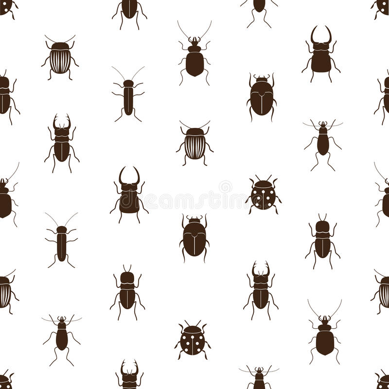 Einfaches nahtloses Muster der Wanzen und der Käfer lizenzfreie abbildung