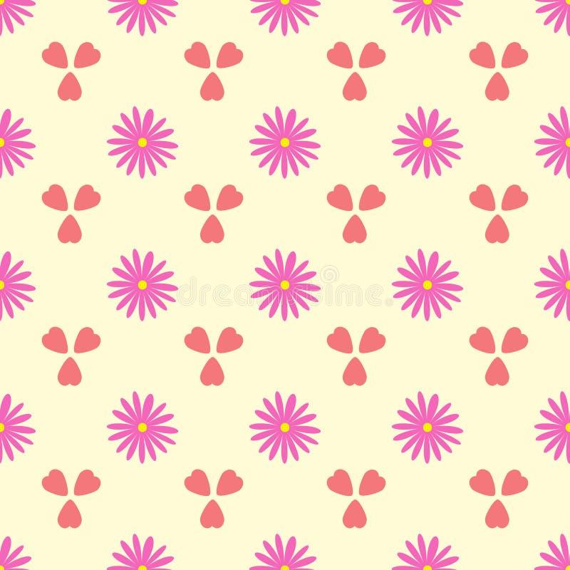 Einfaches nahtloses Muster mit Blumen und Herzen Romantische Blumenvektorillustration vektor abbildung