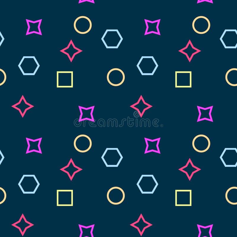 Einfaches, nahtloses/Wiederholungsmemphis-Muster/Beschaffenheit Bunter Entwurf vektor abbildung