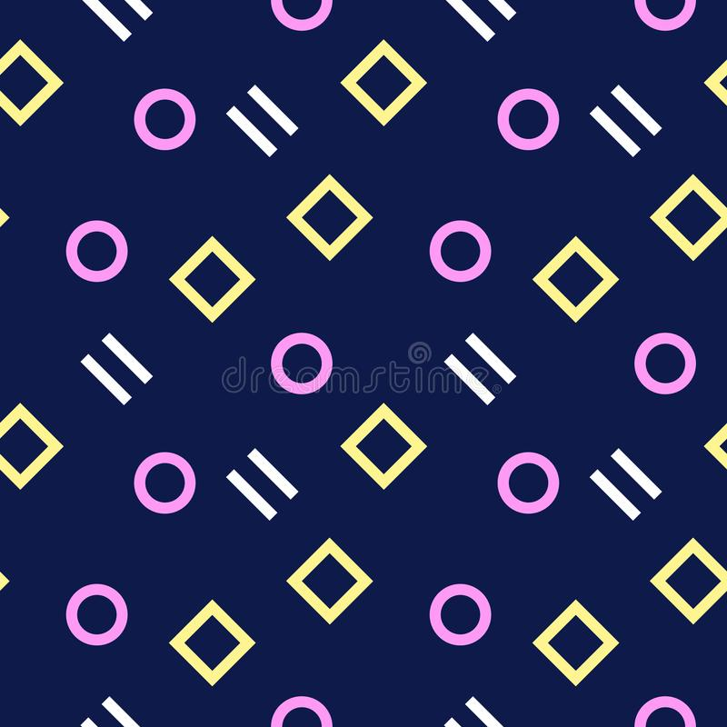 Einfaches, nahtloses/Wiederholungsmemphis-Muster/Beschaffenheit Hellrosa, hellgelbe und weiße Elemente auf dunklem Purpur vektor abbildung