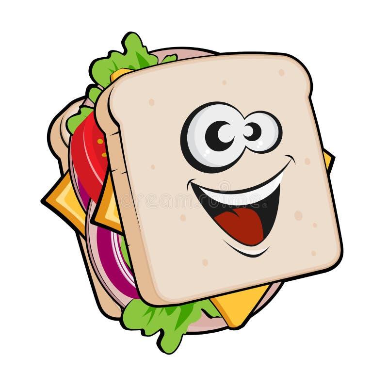 Cartoon illustration of a sandwich royalty free illustration