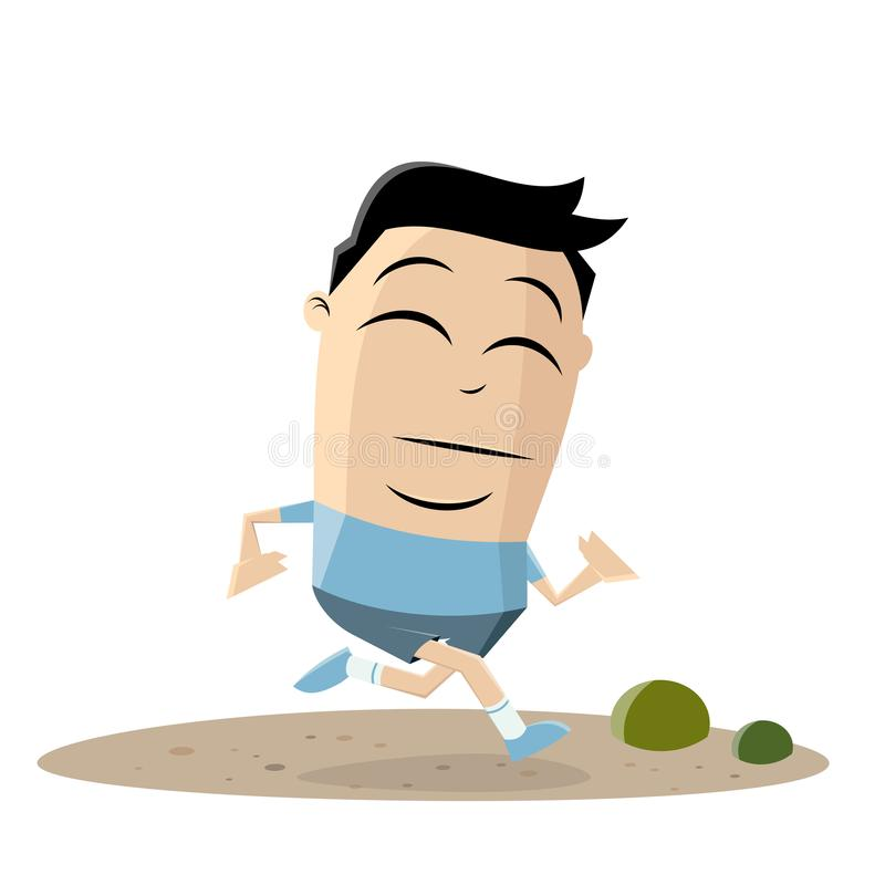 Cartoon illustration of a running asian cartoon man. Funny cartoon illustration of a running asian man stock illustration
