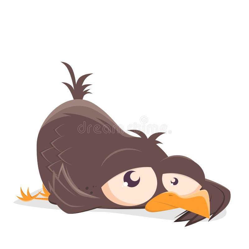 Illustration of a cartoon bird on the ground. Funny illustration of a cartoon bird on the ground royalty free illustration