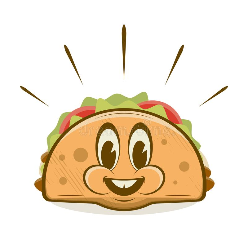 Funny taco cartoon illustration in retro style stock illustration