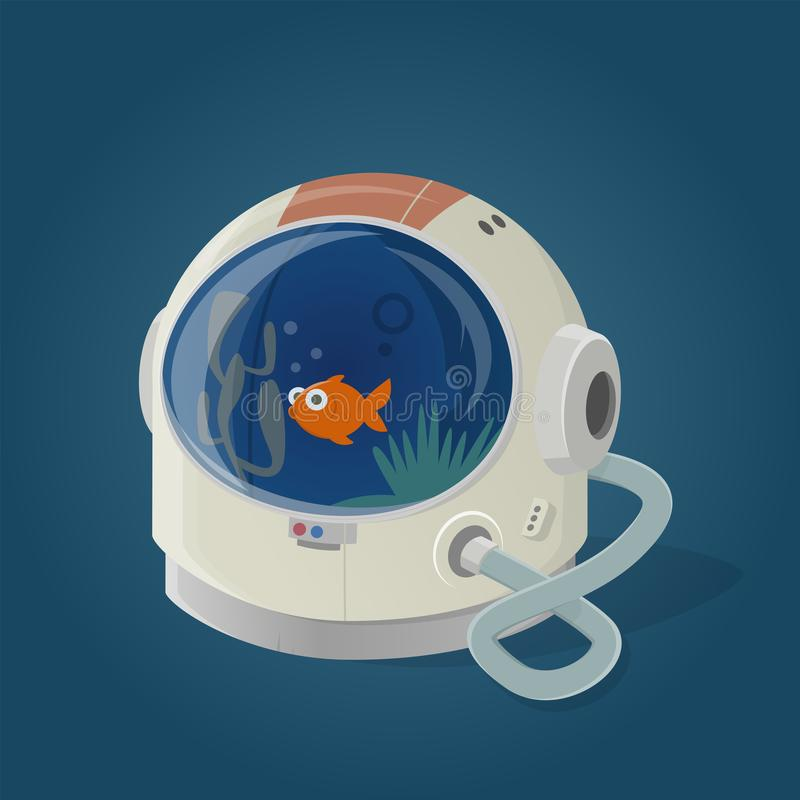 Funny cartoon illustration of a astronaut helmet used as aquarium royalty free illustration