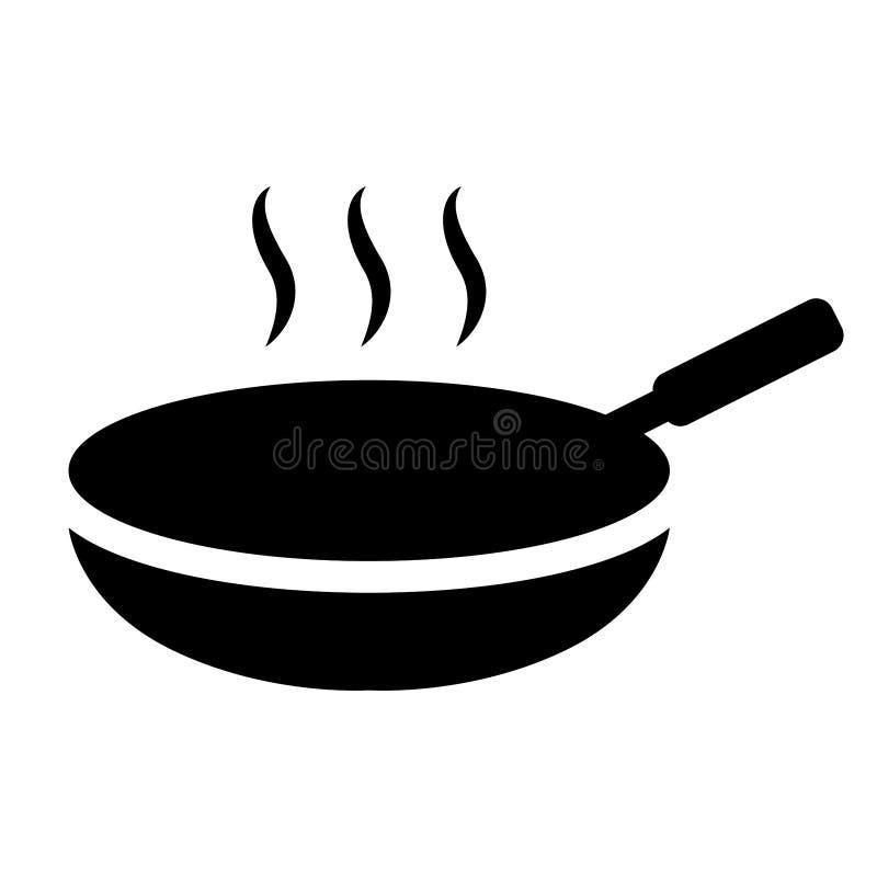 Einfaches, schwarzes kochendes Wannenschattenbild Heißes Kasserollenschattenbild lizenzfreie abbildung