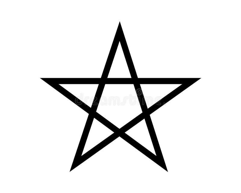 Einfaches, schwarzes Pentagramsymbol von Magie stock abbildung