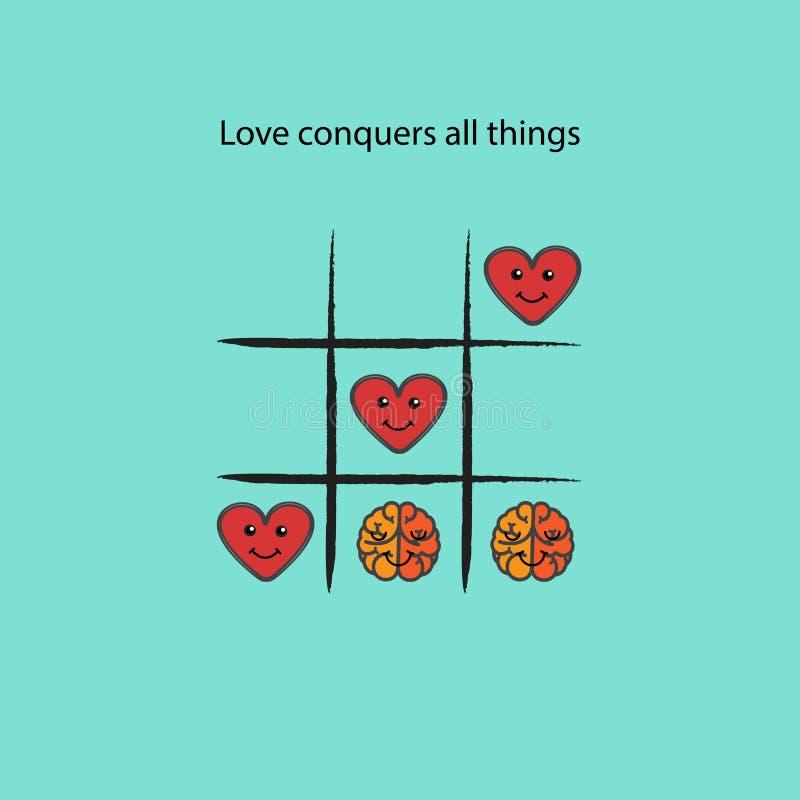 Einfaches Spiel - X-O Spiel Tic-TAC-Zehenelemente Liebe erobert alles Th vektor abbildung