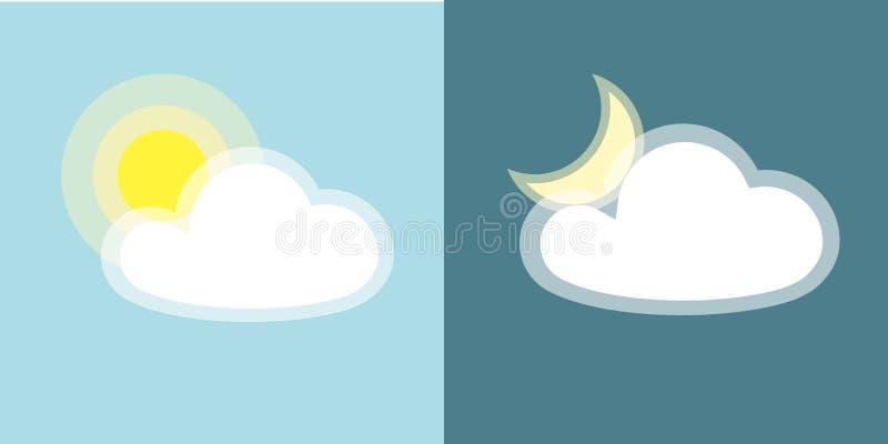 Einfaches Symbol der Sun-Mondwolken-Ikone Tag und Nacht von den Anwendungen, die auf blauem Hintergrund verwittern lokalisiert we stock abbildung