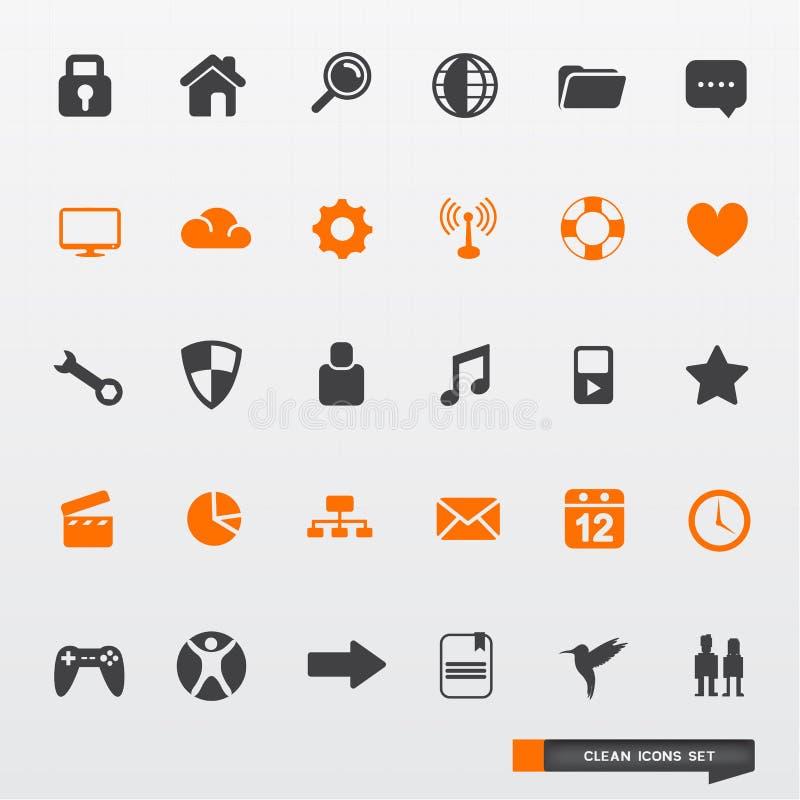 Einfaches u. sauberes Ikonen-Set lizenzfreie abbildung