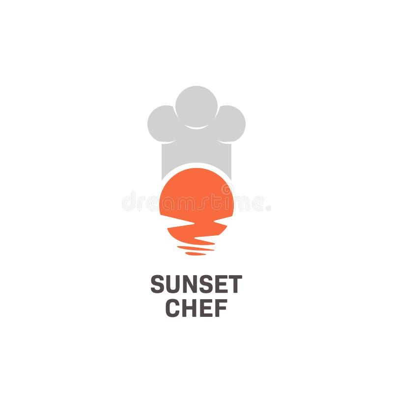 Einfaches und bedeutungsvolles Logo des Sonnenuntergangcheflogo-Symbols des Restaurants und des Chefs stock abbildung