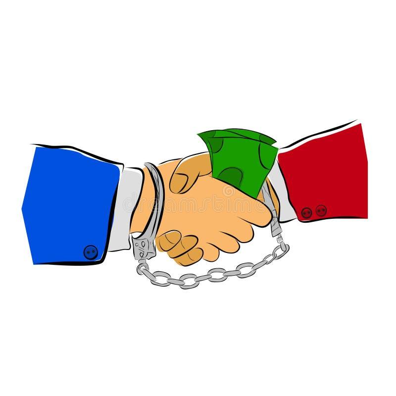 Einfaches Vector Hand Draw Sketch, 2 Mann und Handshaking, Vereinbarung, etwas Illegales zusammen zu tun und sich anzumelden stock abbildung