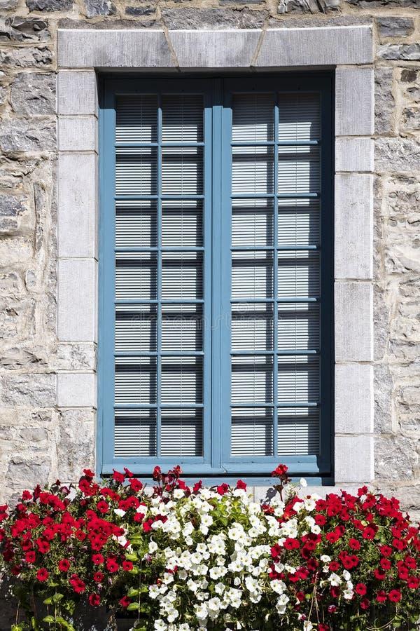 Einfaches vertikales Bild des bedeckten Steinfensters mit Blumenschwankungen der Front stockfoto
