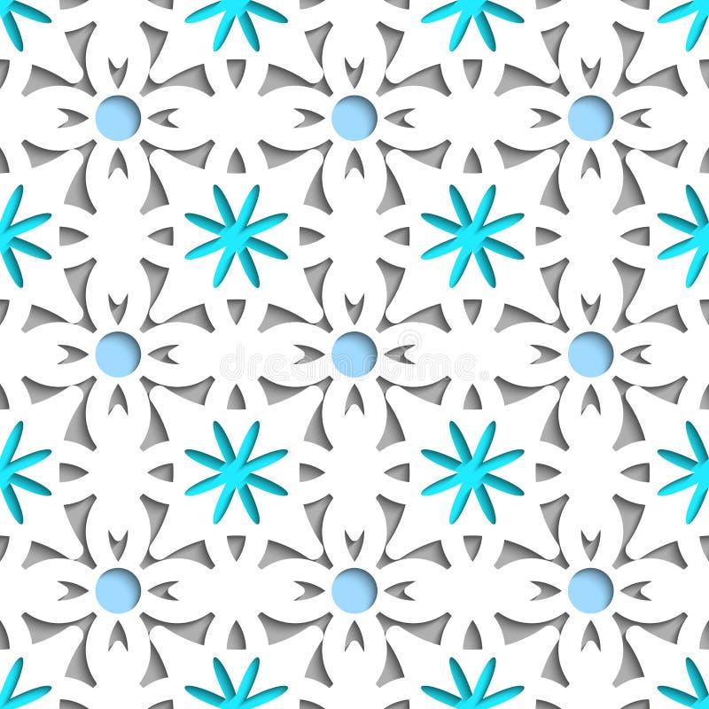 Einfaches Weiß, das Blumen mit blauem nahtlosem neu streicht lizenzfreie abbildung
