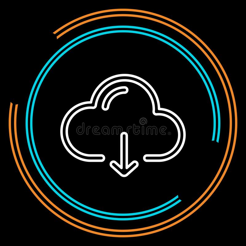 Einfaches Wolken-Download-dünne Linie Vektor-Ikone vektor abbildung