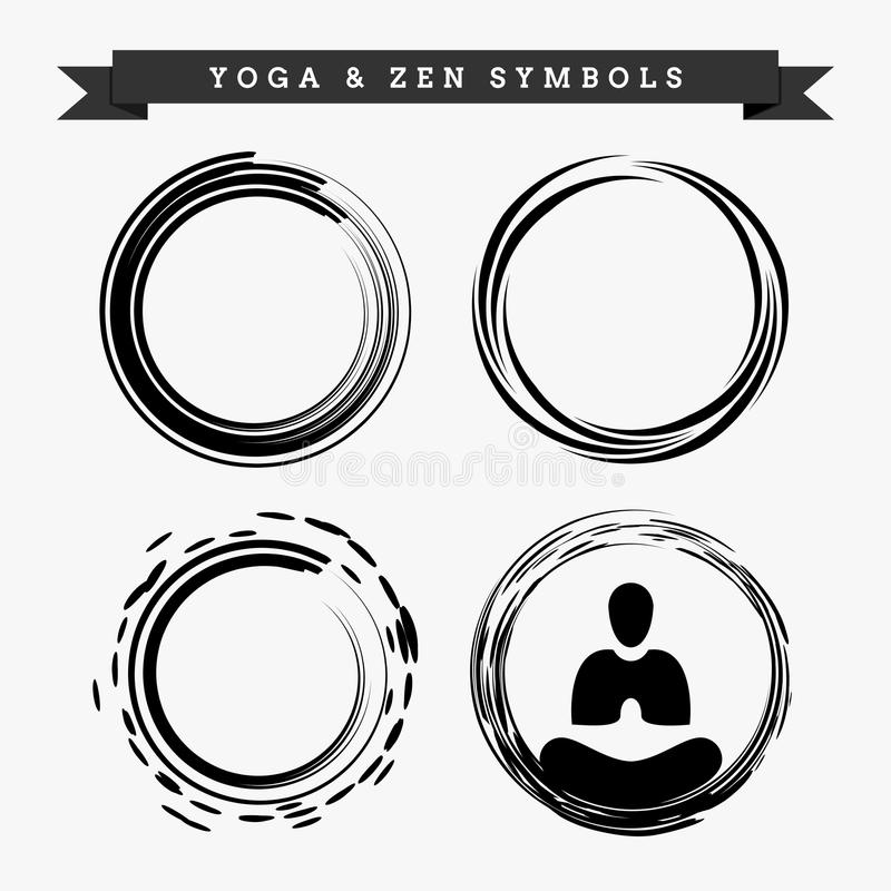 Einfaches Yoga Zen Symbol Set Design stock abbildung