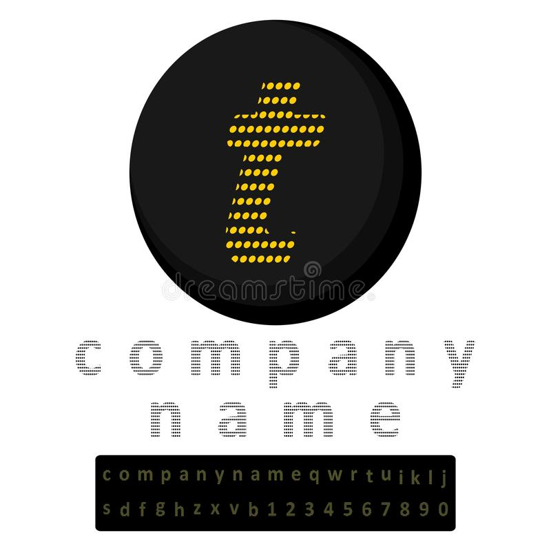 Einfaches Zeichen Ein Buchstabe t im LED-Artgelb im Hintergrund des Schwarzen Eine Prämie in Form eines vollen Alphabetes und ein lizenzfreie abbildung