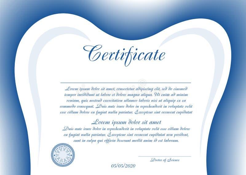 Einfaches Zertifikat oder Diplom für Zahnheilkunde mit einem Zahn-förmigen Rahmen Regenbogen und Wolke auf dem blauen Himmel vektor abbildung