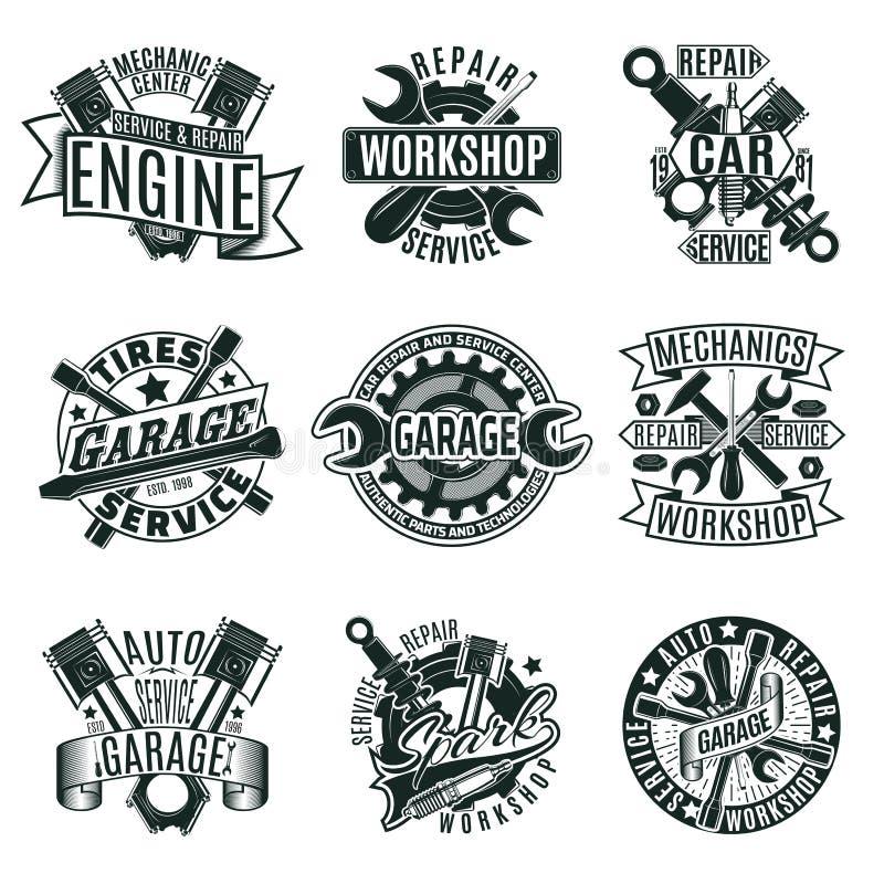 Einfarbige Auto-Reparatur-Service-Logos eingestellt vektor abbildung