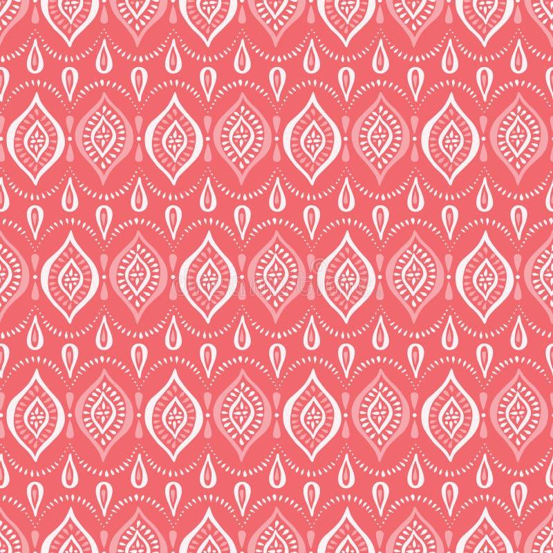 Einfarbige Coral Handdrawn Lace Pattern mit Diamanten und Punkten Klassischer eleganter Vektor-nahtloser Hintergrund lizenzfreie abbildung