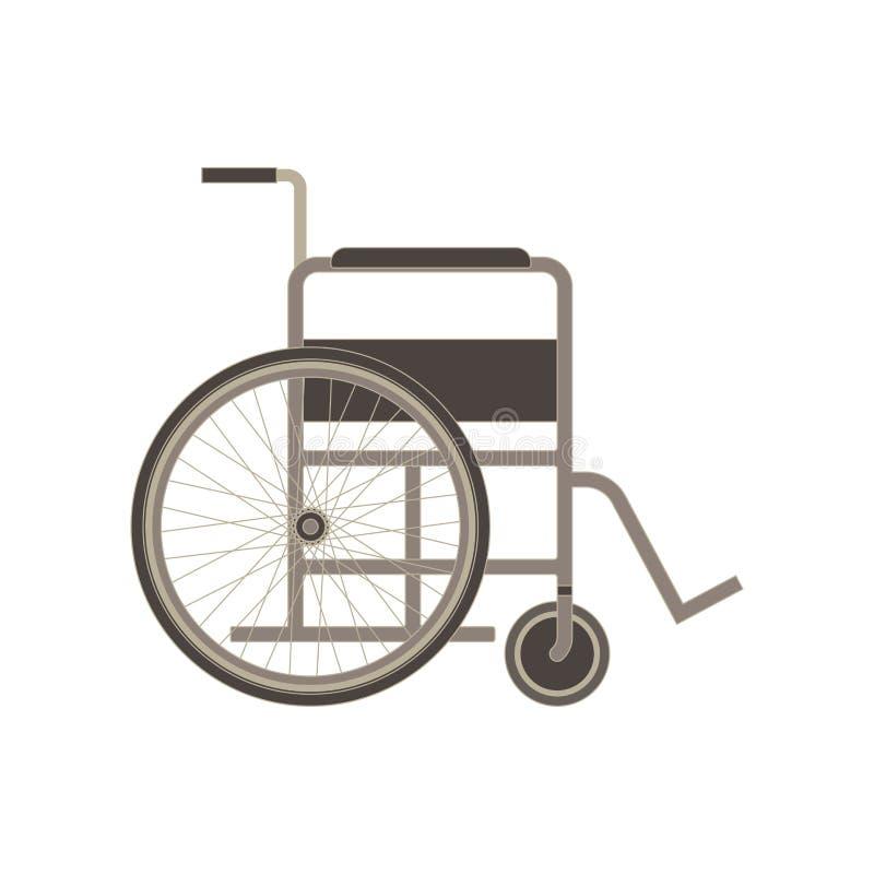 Einfarbige Ebene der Seitenansicht des Rollstuhls im grauen Farbthema lizenzfreie abbildung