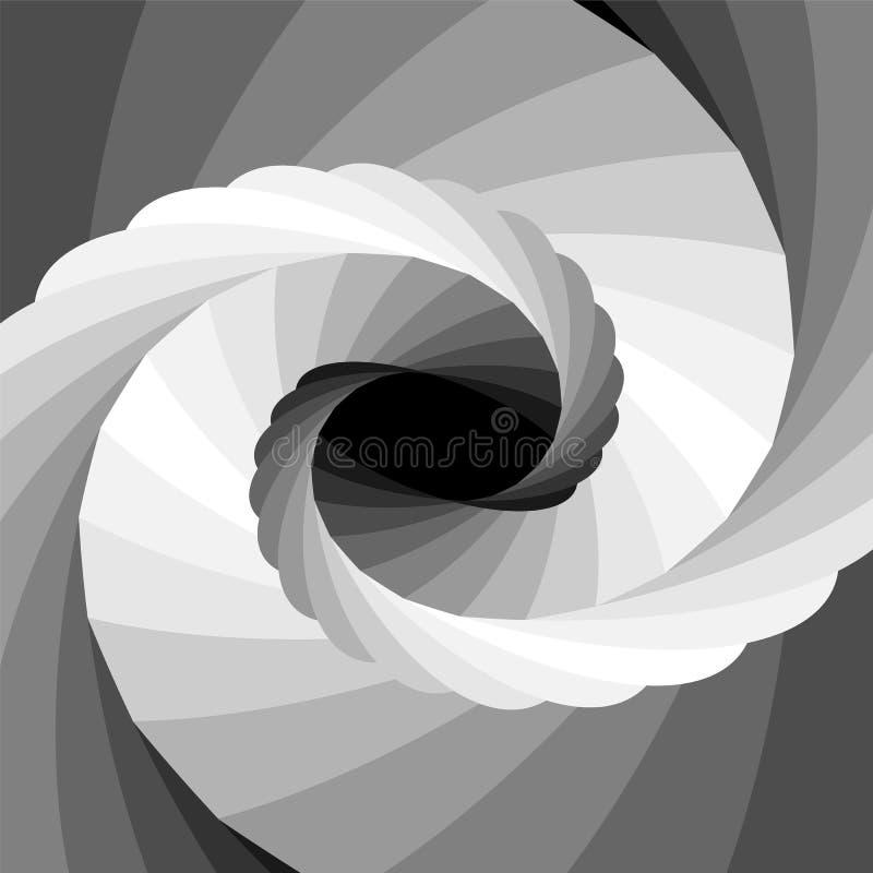 Einfarbige gestreifte Turbulenz, die von Schwarzem zu den weißen Tönen schimmert und zur Mitte zusammenläuft lizenzfreie abbildung