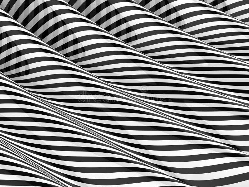 einfarbige gestreifte Wellen 3d stock abbildung