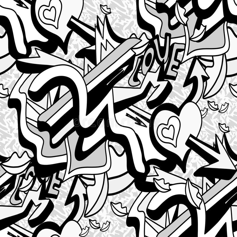 Einfarbige Graffitilinien und -herz auf einem nahtlosen Muster des weißen Hintergrundes vector Illustration lizenzfreie abbildung