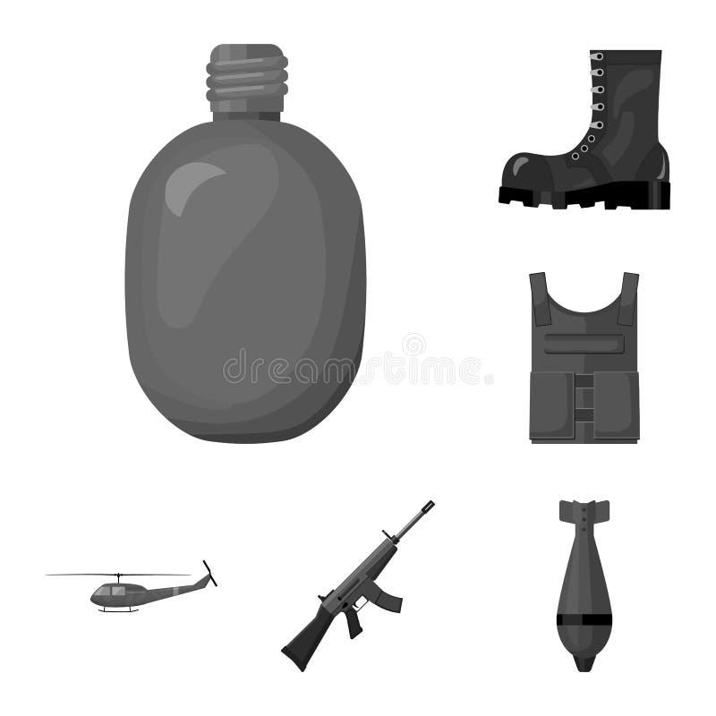 Einfarbige Ikonen der Armee und der Bewaffnung in der Satzsammlung für Design Waffen und Ausrüstungsvektorsymbolvorratnetz stock abbildung