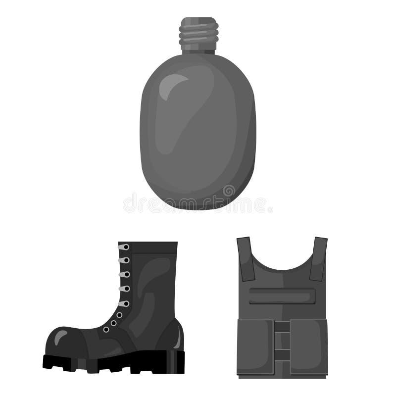 Einfarbige Ikonen der Armee und der Bewaffnung in der Satzsammlung für Design Waffen und Ausrüstungsvektorsymbolvorratnetz vektor abbildung