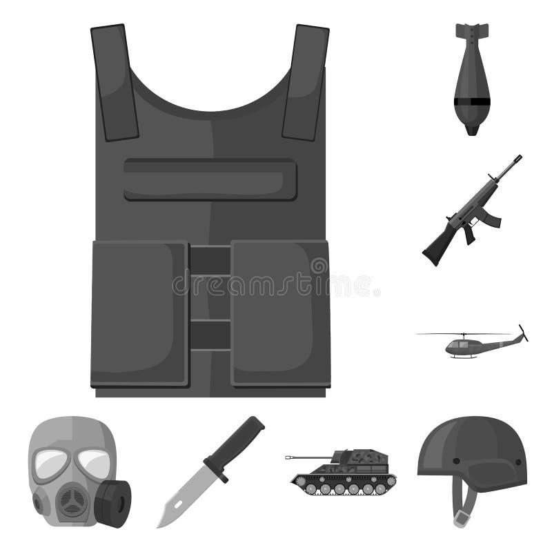 Einfarbige Ikonen der Armee und der Bewaffnung in der Satzsammlung für Design Waffen und Ausrüstungsvektorsymbolvorratnetz lizenzfreie abbildung