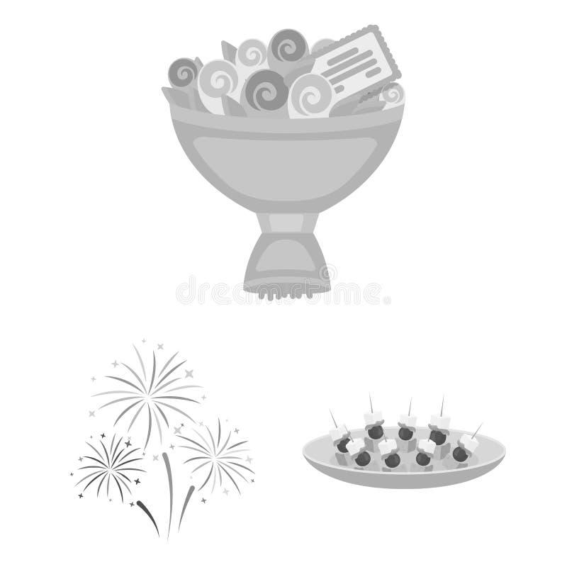 Einfarbige Ikonen der Ereignis-Organisation in der Satzsammlung für Design Feier- und Attributvektorsymbol-Vorratnetz lizenzfreie abbildung
