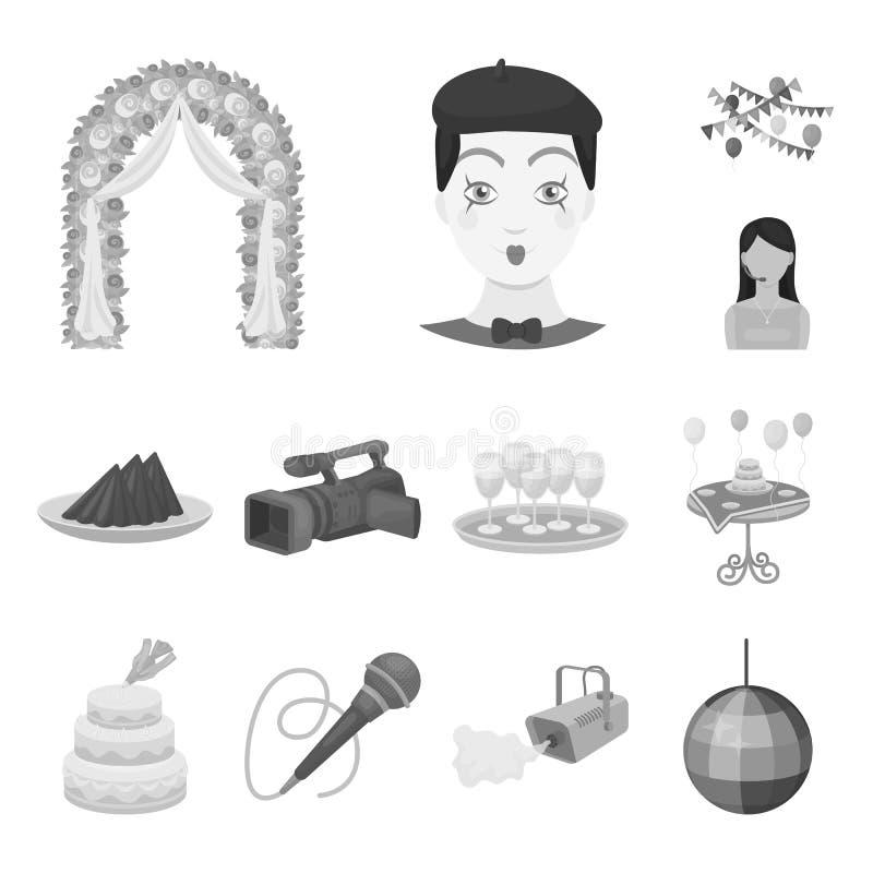 Einfarbige Ikonen der Ereignis-Organisation in der Satzsammlung für Design Feier- und Attributvektorsymbol-Vorratnetz stock abbildung