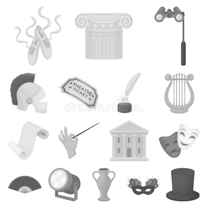 Einfarbige Ikonen der Theaterkunst in der Satzsammlung für Design Theaterausrüstung und -Zubehör vector Netz des Symbols auf Lage vektor abbildung