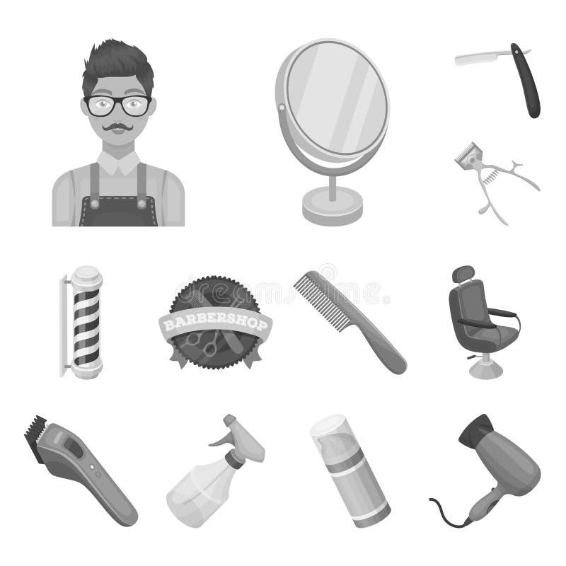 Einfarbige Ikonen des Friseursalons und der Ausrüstung in der Satzsammlung für Design Haarschnitt- und Rasurvektorsymbol-Vorratne lizenzfreie abbildung