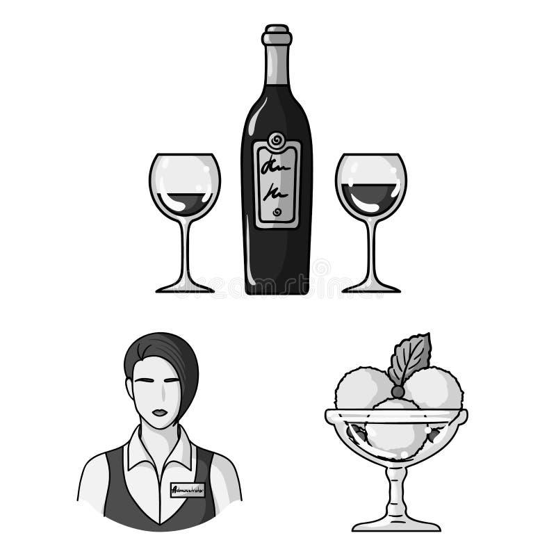 Einfarbige Ikonen des Restaurants und der Bar in der Satzsammlung für Design Vergnügen, Lebensmittel und Alkohol vector Netz des  vektor abbildung