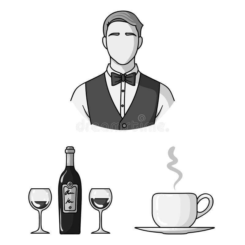 Einfarbige Ikonen des Restaurants und der Bar in der Satzsammlung für Design Vergnügen, Lebensmittel und Alkohol vector Netz des  lizenzfreie abbildung